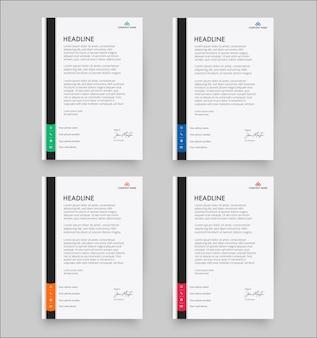 Modern letterhead template in flat style pack