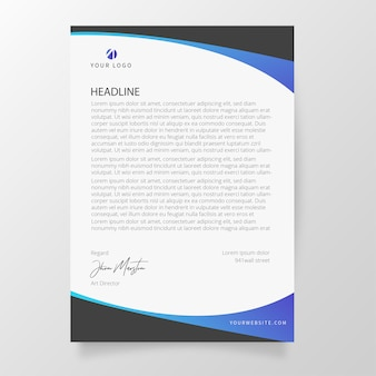 Modern letterhead with abstract shapes