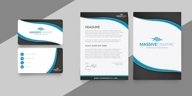 Modern letterhead with business card