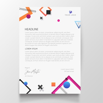 Modern letterhead with memphis design elements