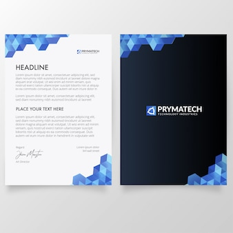 Modern letterhead with technology concept