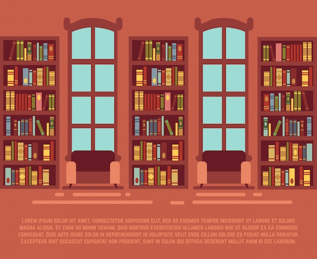 Modern library empty interior with bookcase, bibliotheca with bookselves vector illustration