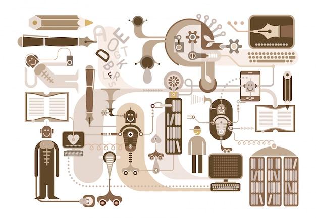 Modern library  illustration