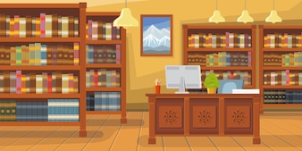 Modern library with bookshelf illustration