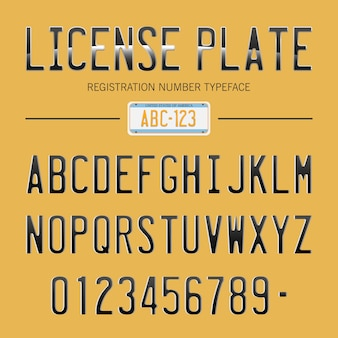 Современный номерной знак шрифта для регистрационных номеров, с образцом на фоне