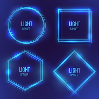 Modern light banner with blue light