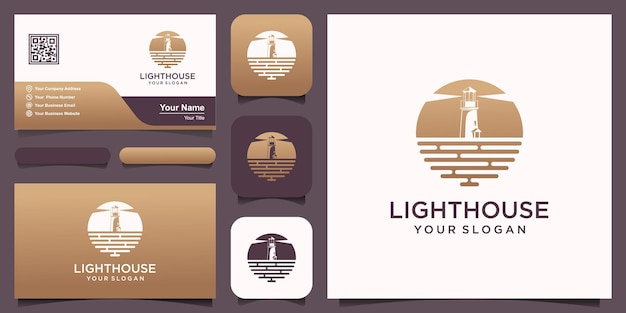 Современный маяк, прожектор, башня, остров с концепцией swoosh, простой дизайн логотипа в стиле арт линии.