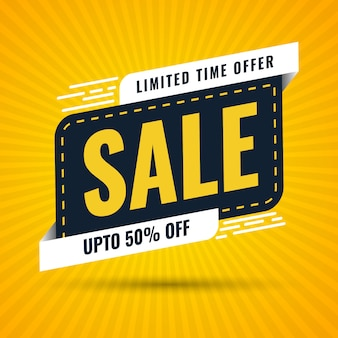 Modern limited time offer discount sale banner design in pop style