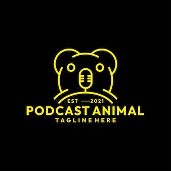 Современные линии искусства животных подкаст логотип вектор