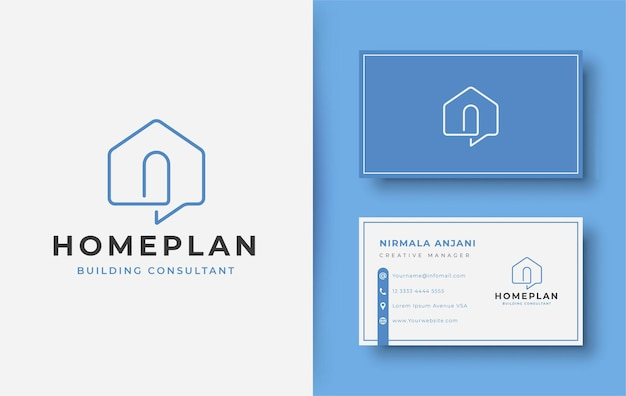 Современный дизайн логотипа дома искусства линии и дизайна визитной карточки