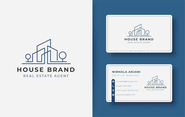 Modern line art house logo and business card design