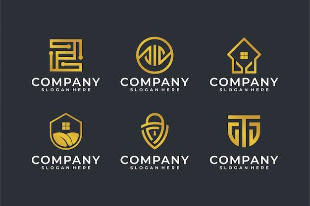 Modern line art logo template set