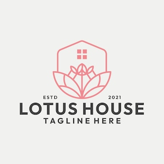 Modern line art lotus home logo vector
