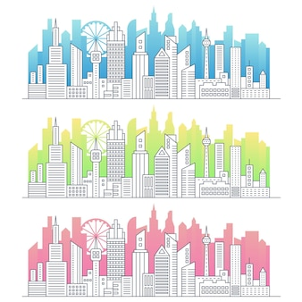 Modern line art of modern big city cityscape panorama illustration