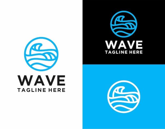 現代線画波ロゴベクトル
