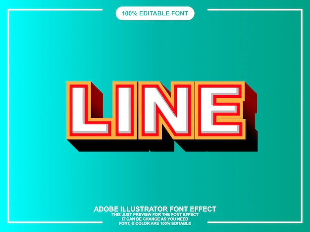 Modern line editable text effect for illustrator