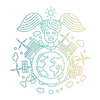 建物と代替エネルギーで地球を保持している幸せな女の子とモダンなラインフラットデザイン都市構成