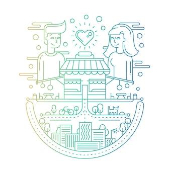 都市の建物、街並み、愛するカップルとのモダンなラインフラットデザインの都市構成-グラデーションカラー