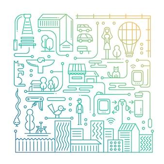 都市の建物と都市の景観を備えたモダンなラインフラットデザインの都市ライフスタイル構成-グラデーションカラー