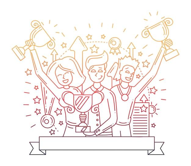 Современная композиция с плоским дизайном и счастливыми победителями - цветовой градиент