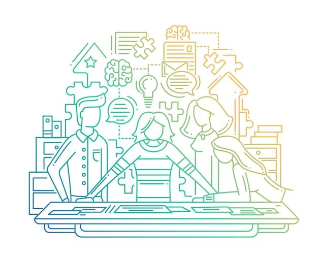 현대적인 라인 플랫 디자인 창작 과정 구성 및 팀 해결 문제-색상 그라디언트