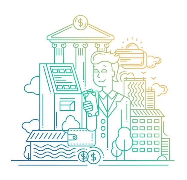 현대적인 라인 플랫 디자인은 돈을 구성하고 사업가가 자신의 재정을 관리합니다.