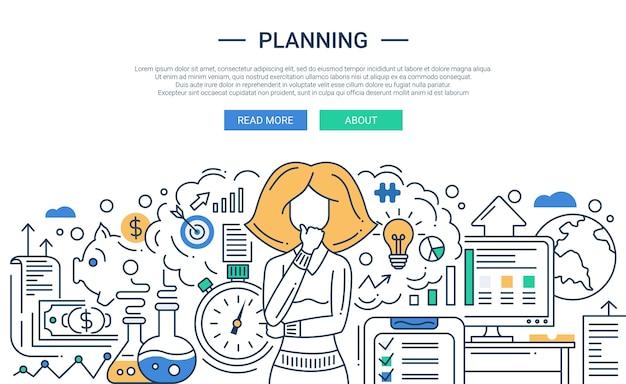 현대 라인 플랫 디자인 계획 프로세스 구성
