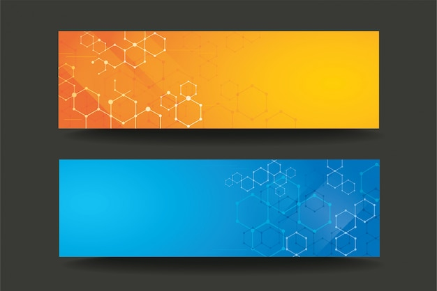 Modern line hexagon template banner background