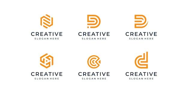 モダンなラインロゴセット。文字d、c、nのクリエイティブなモノグラムコレクション