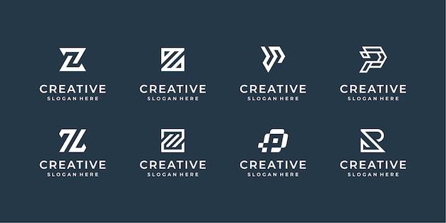 モダンなラインロゴセット。文字p、r、zのクリエイティブなモノグラムコレクション