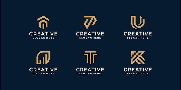 현대 라인 로고 세트. 문자 u와 t가있는 크리에이티브 모노그램 컬렉션