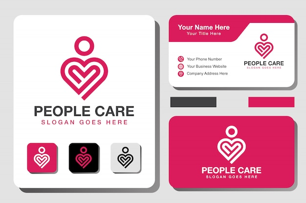 Modern line people care logo. heart line art logo with business card design template