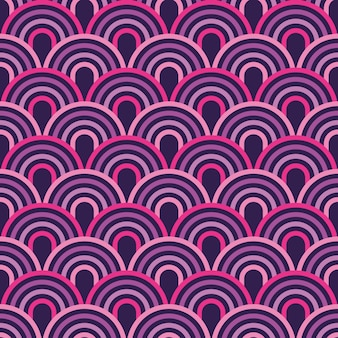 Modern line semicircles abstract geometric seamless pattern.