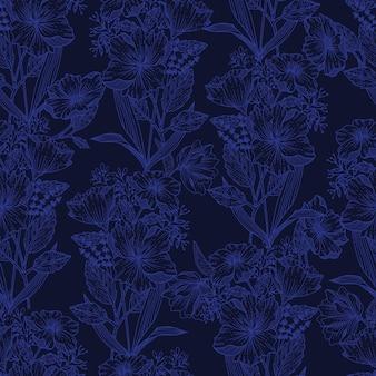 Modern line sketch of blooming floral botanical plant flower background seamless pattern eps10