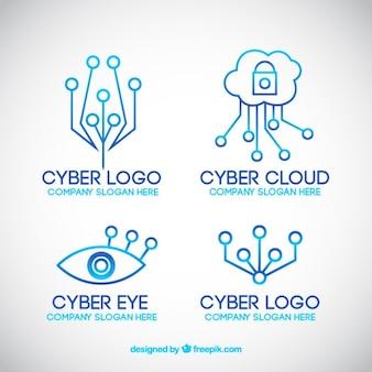 Modern line technology logo templates