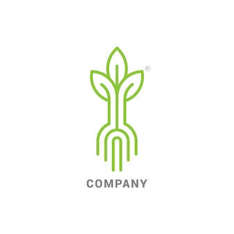 Росток с корнями, логотип марки modern line с прорастающими семенами