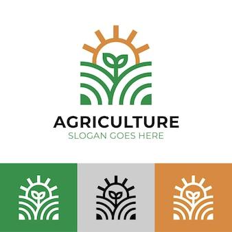 農家のロゴデザインのための自然植物と太陽を備えた現代の線形農業