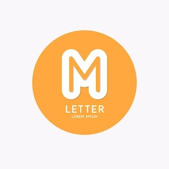 Современный линейный логотип и подпишите букву м