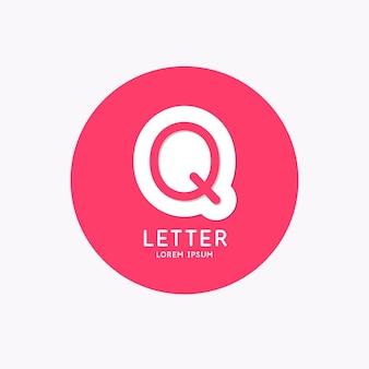 モダンな線形ロゴと文字qに署名
