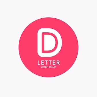 Modern linear logo and sign the letter d
