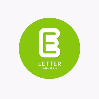 Modern linear logo and sign the letter e