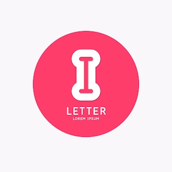 Modern linear logo and sign the letter i