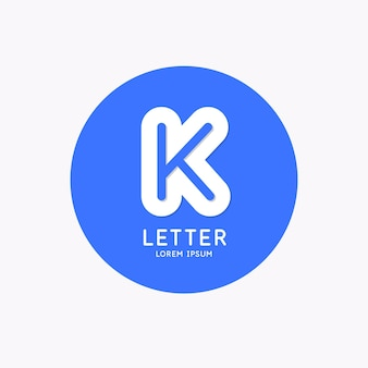 Modern linear logo and sign the letter k