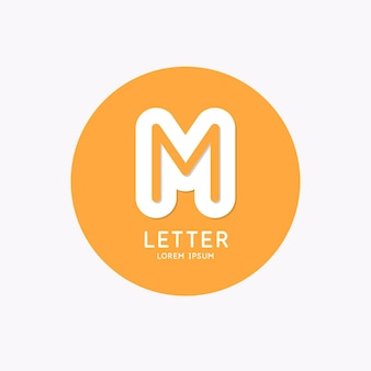 Modern linear logo and sign the letter m