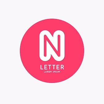 Modern linear logo and sign the letter n