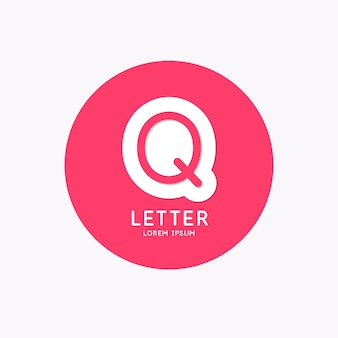 Modern linear logo and sign the letter q