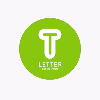 Modern linear logo and sign the letter t