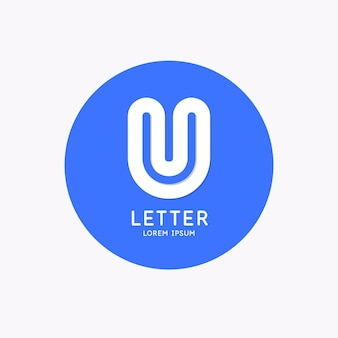 Modern linear logo and sign the letter u