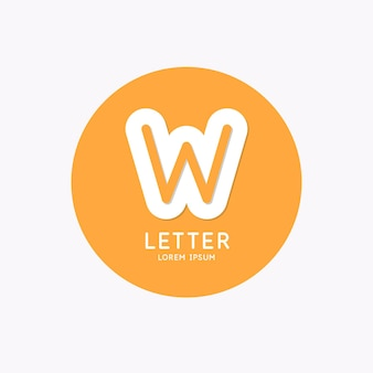 Modern linear logo and sign the letter w
