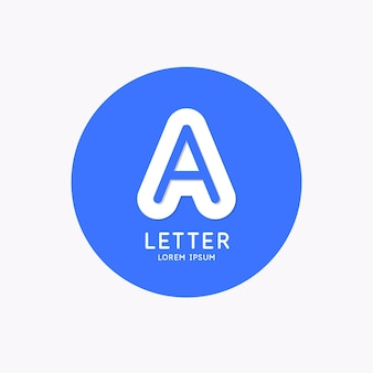 Modern linear logo and sign the letter a
